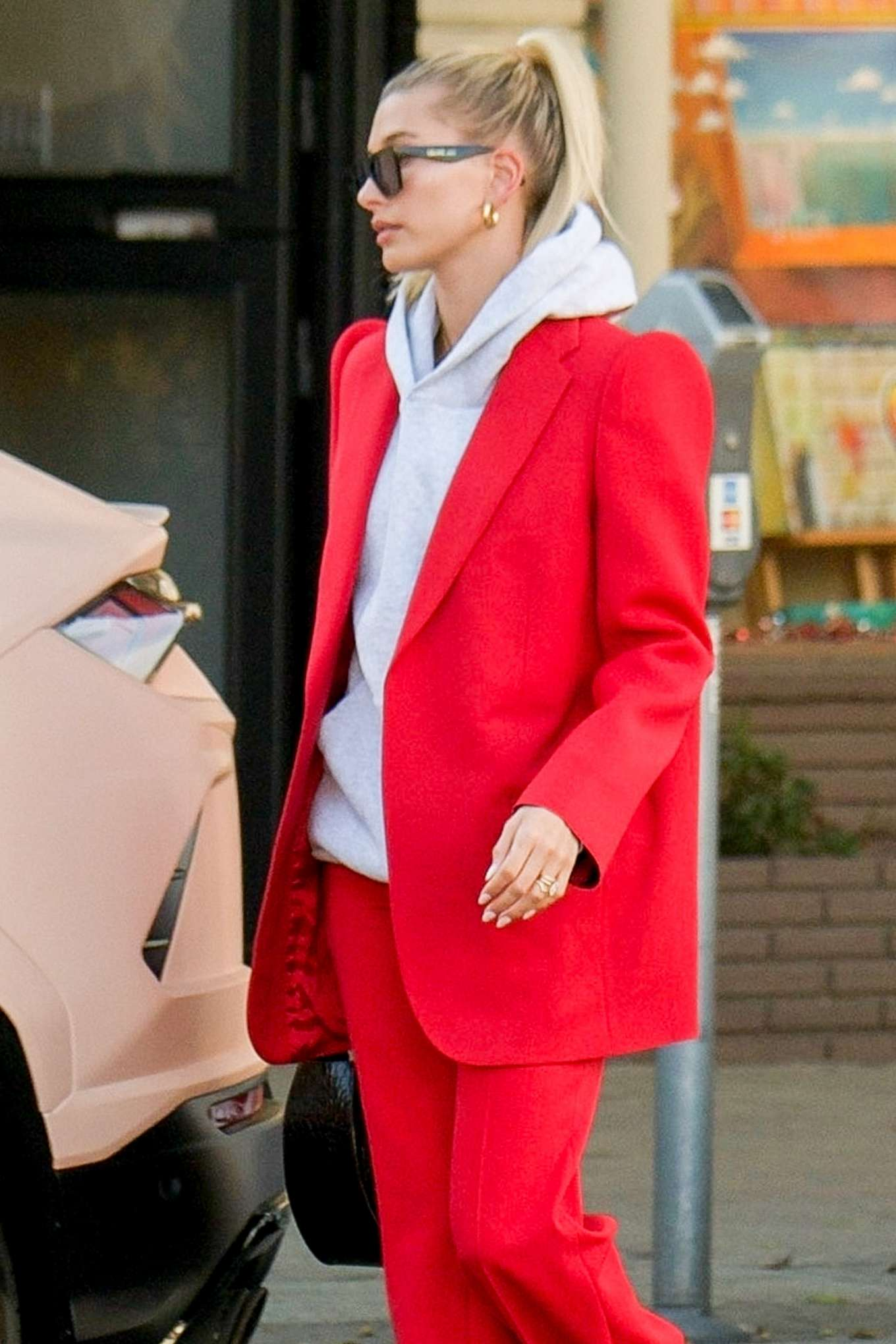 Hailey Bieber in Red Suit - Out in Beverly Hills