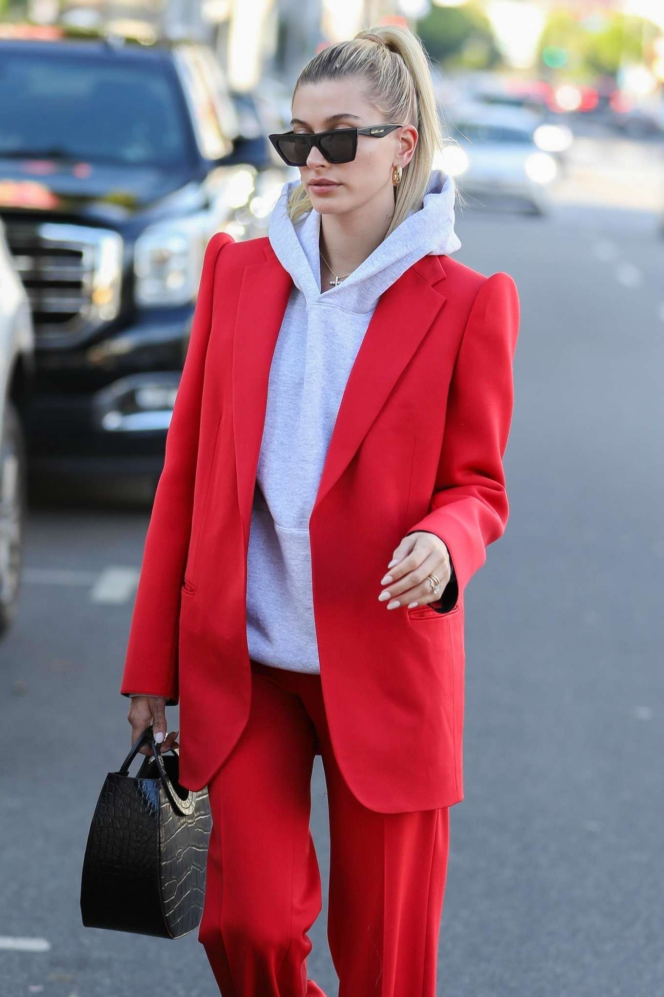 Hailey Bieber 2019 : Hailey Bieber in Red Suit – Out in Beverly Hills-04