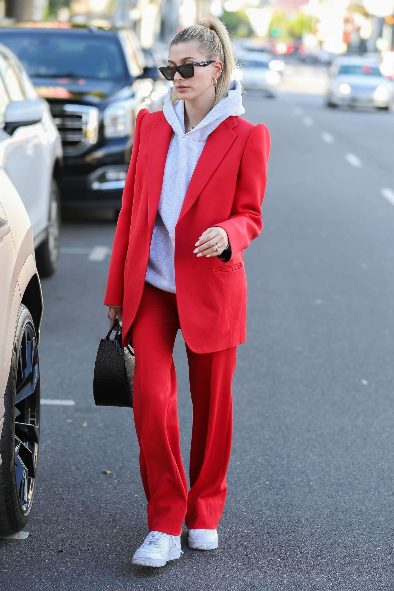 Hailey Bieber 2019 : Hailey Bieber in Red Suit – Out in Beverly Hills-06