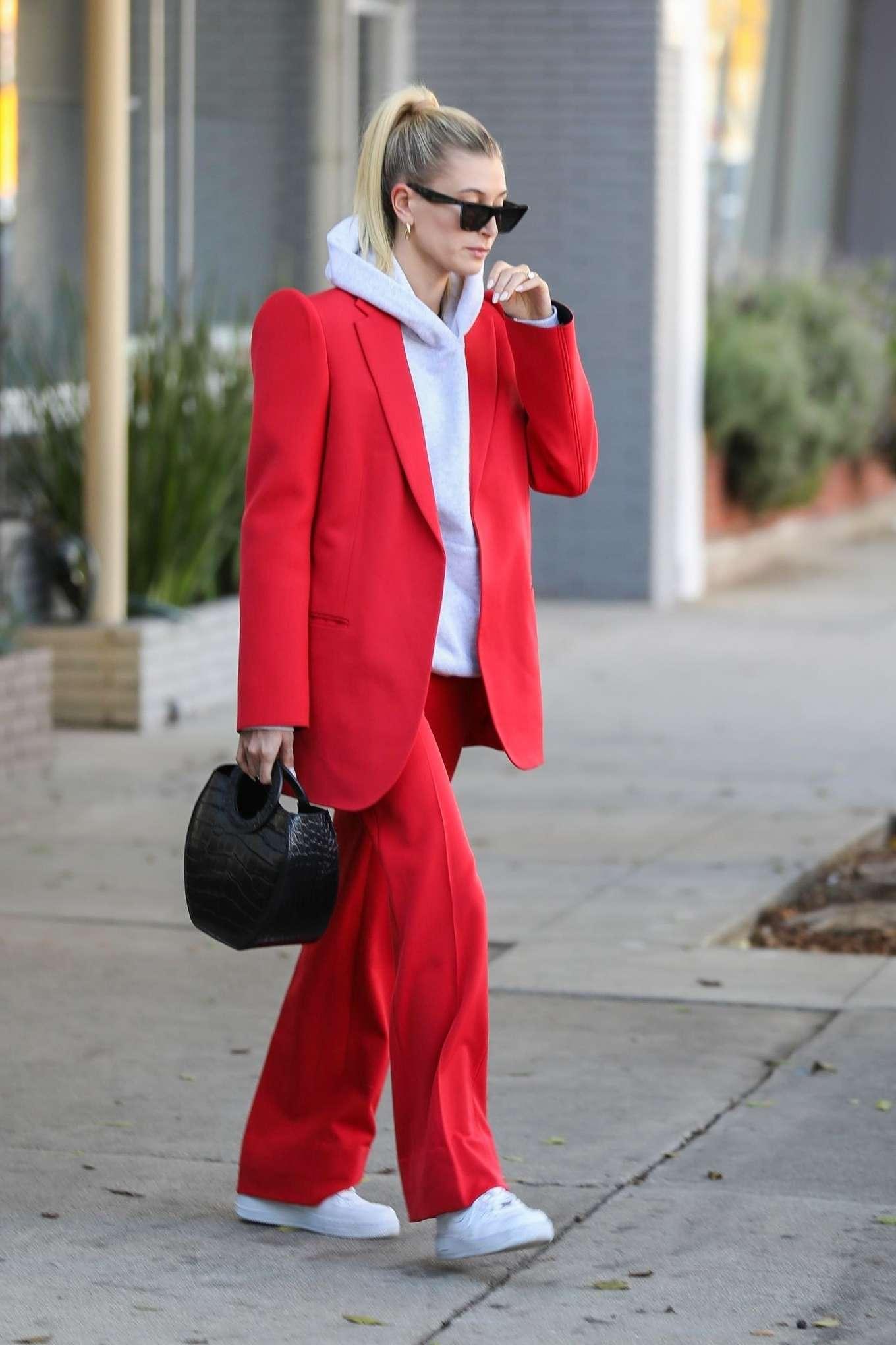 Hailey Bieber 2019 : Hailey Bieber in Red Suit – Out in Beverly Hills-08