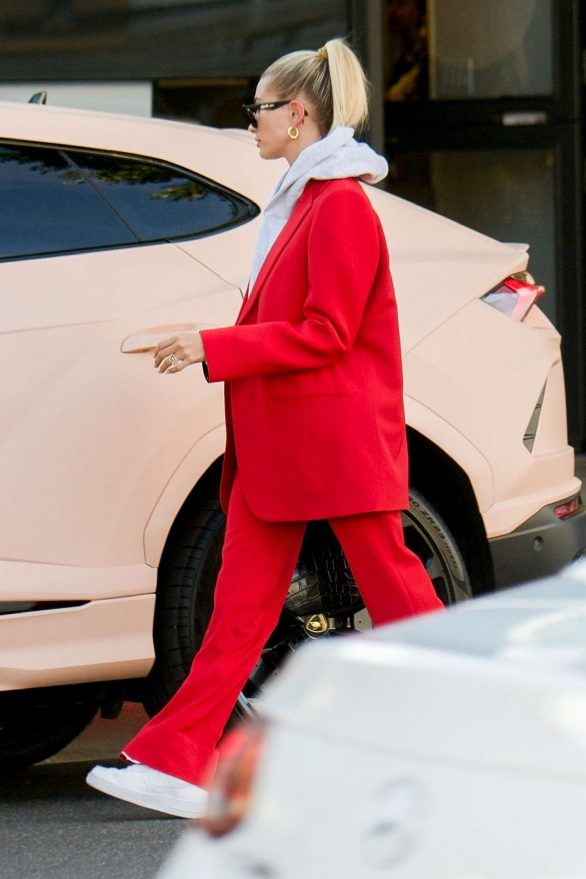 Hailey Bieber 2019 : Hailey Bieber in Red Suit – Out in Beverly Hills-10