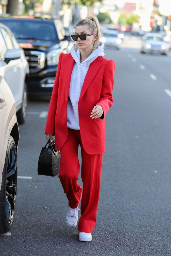 Hailey Bieber 2019 : Hailey Bieber in Red Suit – Out in Beverly Hills-12