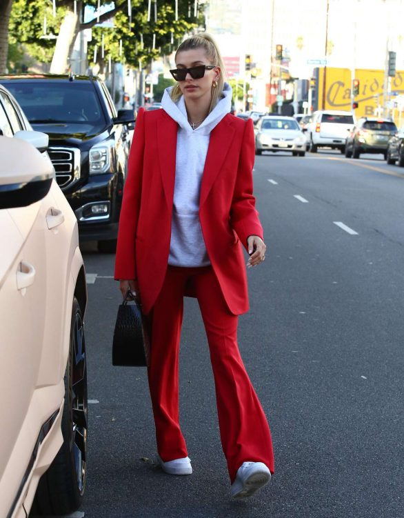 Hailey Bieber 2019 : Hailey Bieber in Red Suit – Out in Beverly Hills-16