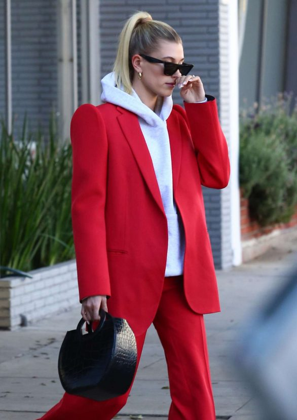 Hailey Bieber 2019 : Hailey Bieber in Red Suit – Out in Beverly Hills-18
