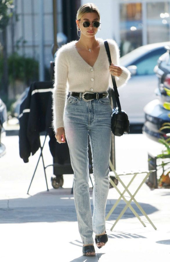 Hailey Bieber in White Sweater and Jeans - Out in Los Angeles