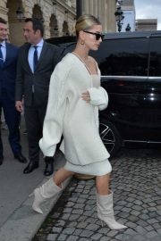 Hailey Bieber - leaves her hotel in Paris