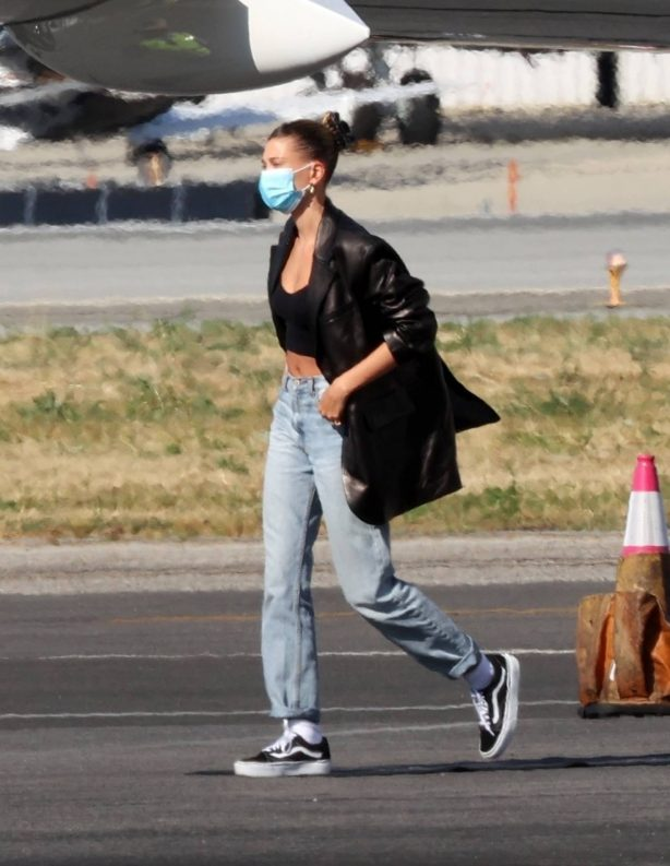 Hailey Bieber - On a Private Jet arrives back in LA