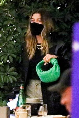 Hailey Bieber - Out with friends in Beverly Hills