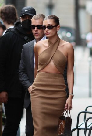 Hailey Bieber - Seen after being received at the Elysee Palace in Paris