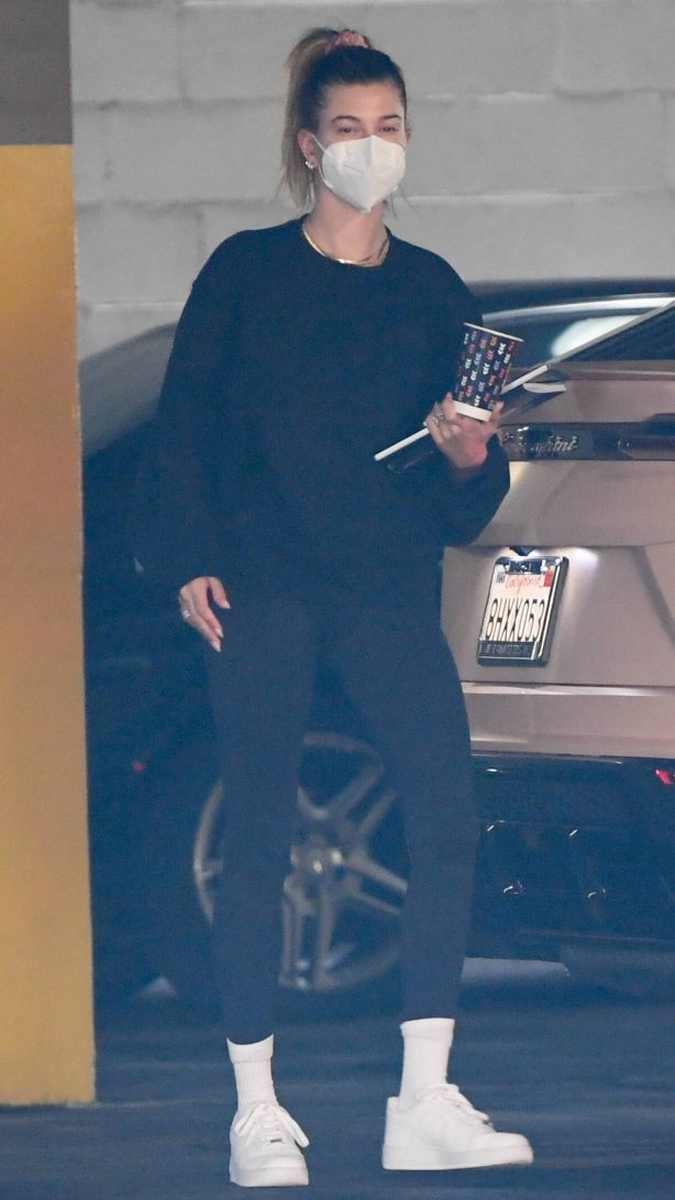 Hailey Bieber - Seen at office building in Los Angeles