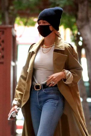 Hailey Bieber - Seen while exits a medical building in Beverly Hills