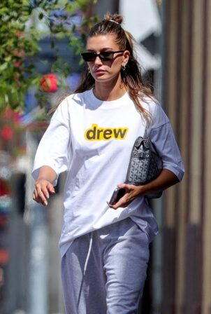 Hailey Bieber - Steps out in a colored Nike sneakers in West Hollywood