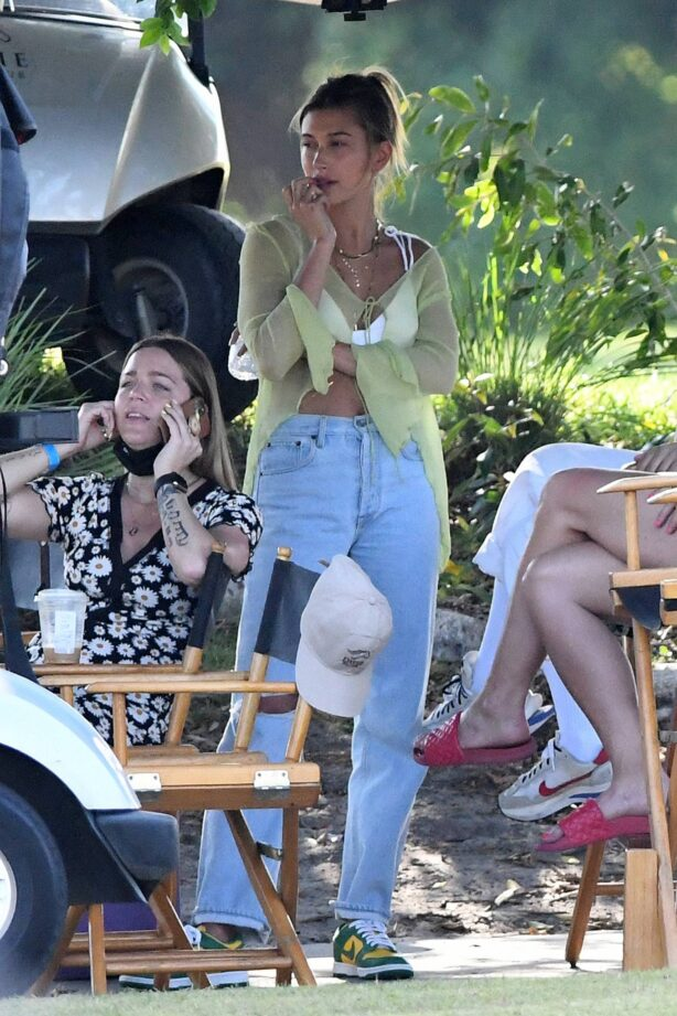 Hailey Bieber - With Justin Bieber on the set of a music video in Miami