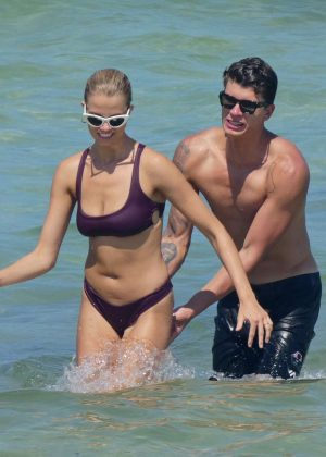 Hailey Clauson in Bikini on the beach in Miami