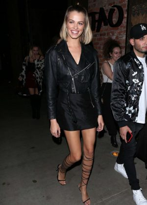 Hailey Clauson in Black Mini Dress at TAO steakhouse in Beverly Hills