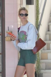 Hailey Clauson in Green Shorts at Alfred's Tea Room in Los Angeles