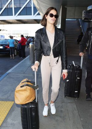 Hailey Clauson in Leather Jacket at LAX International Airport in LA