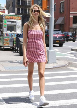 Hailey Clauson in Mini Dress Out in New York