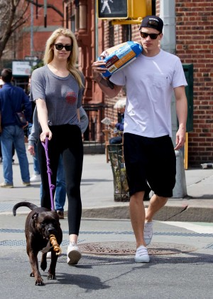 Hailey Clauson with her boyfriend out in the West Village