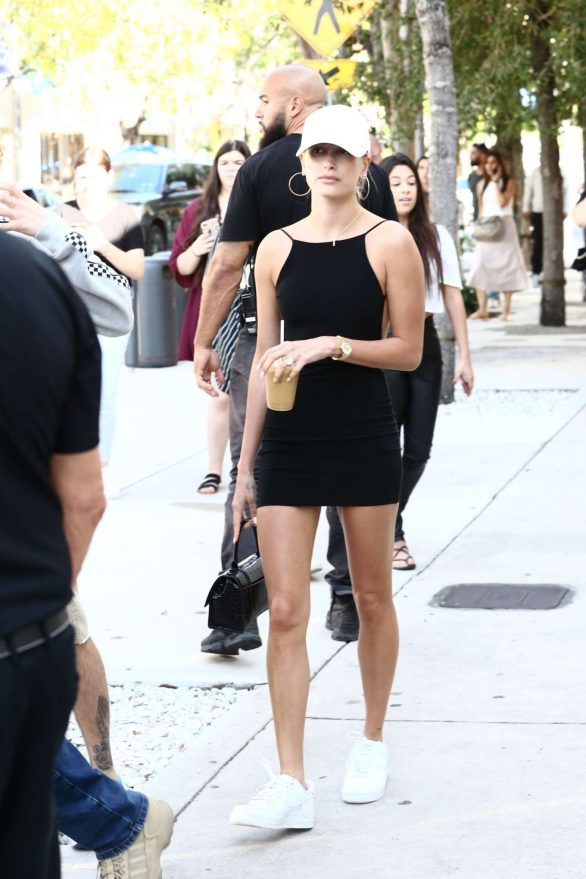 Hailey in Black Mini Dress with Justin Bieber - Out in Miami