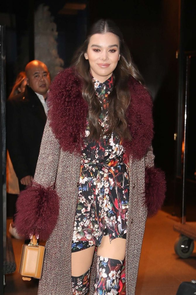 Haille Steinfeld in Floral Print Outfit - Leaving her hotel in New York