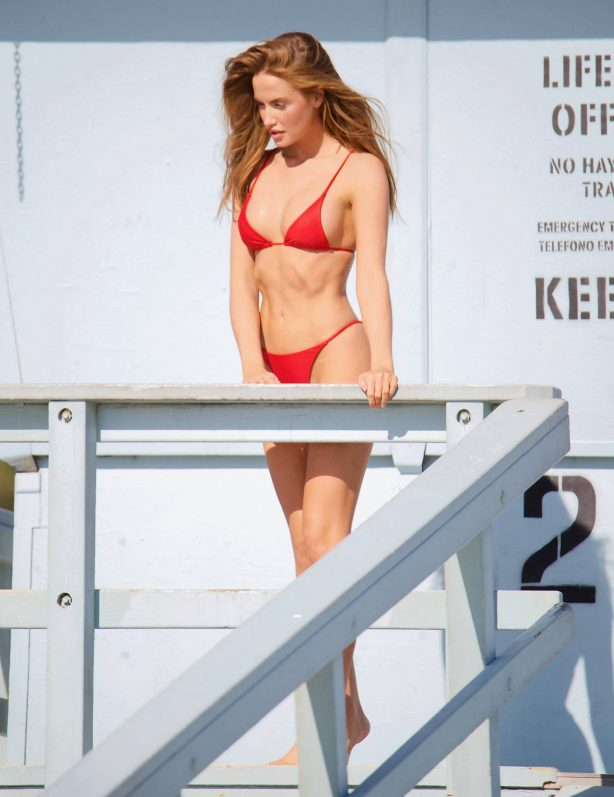 Haley Kalil - In a red bikini on set of Baywatch inspired photoshoot in Malibu