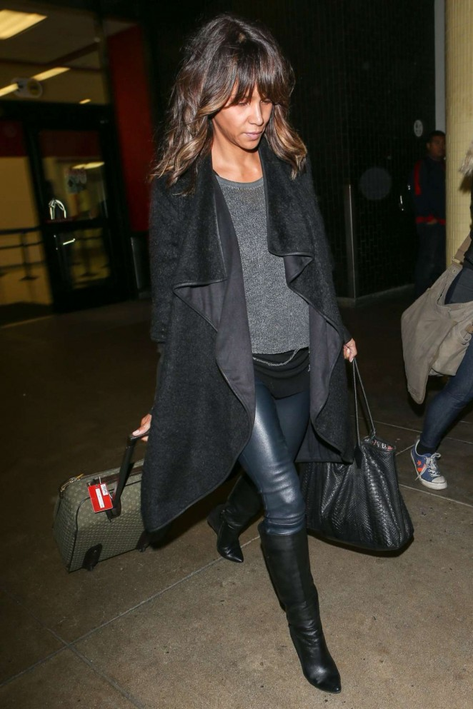 Halle Berry in Leather at LAX Airport in Los Angeles