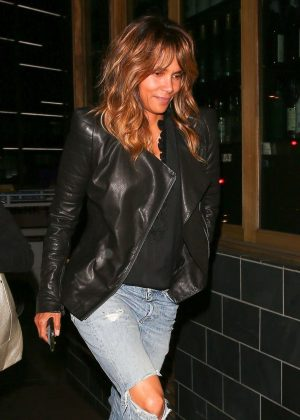 Halle Berry in Jeans and Leather Jacket - Night out in West Hollywood