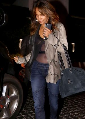 Halle Berry in Jeans Out for Dinner in Beverly Hills