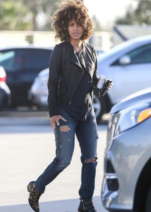 Halle Berry in Jeans out in Santa Monica