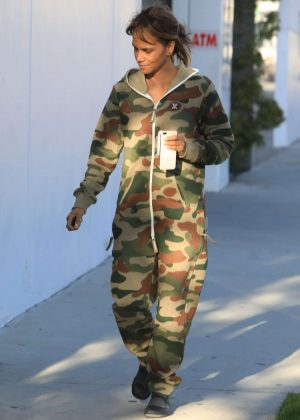 Halle Berry in Jumpsuit - Out in Los Angeles