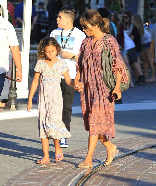 Halle Berry in Long Dress at the Grove in Los Angeles