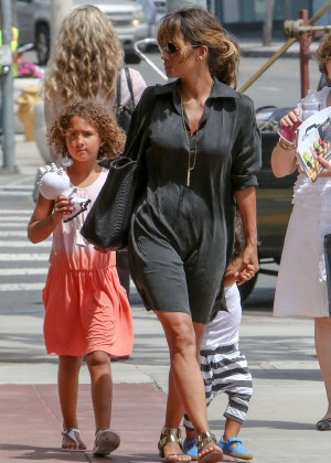 Halle Berry in Black Dress Out in LA