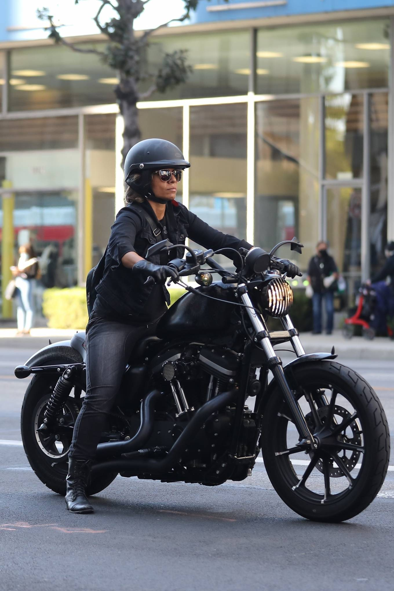 Halle Berry - Ride Harley Davidson bike in Beverly Hills