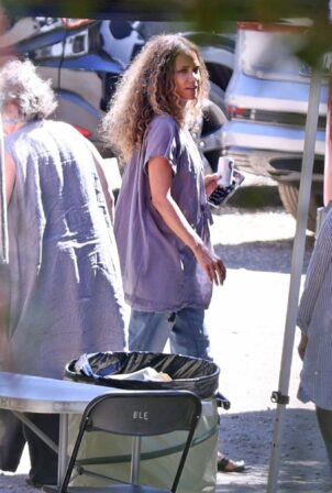 Halle Berry -Seen filming a commercial for Sweaty Betty workout clothes in Malibu