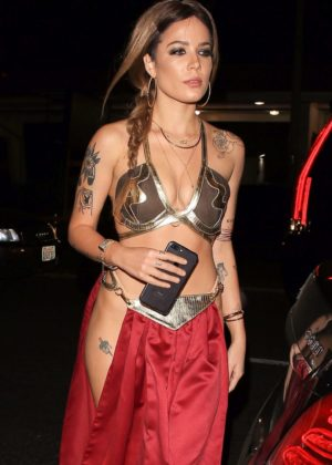 Halsey - Halloween party at Delilah in West Hollywood