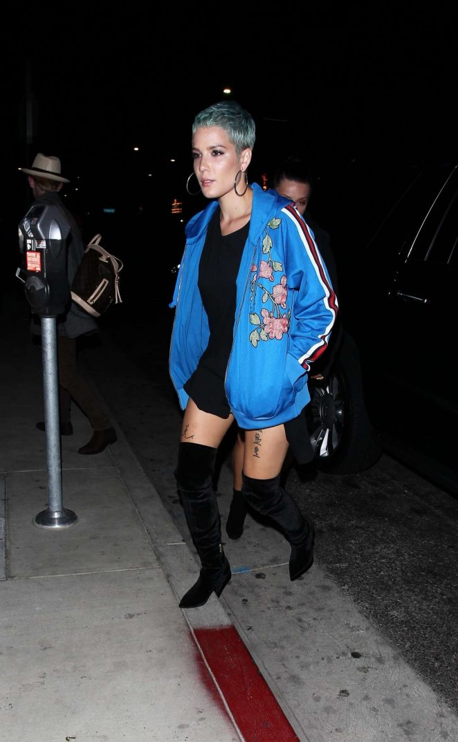Halsey in a blue jacket as she left TAO Steakhouse in Hollywood