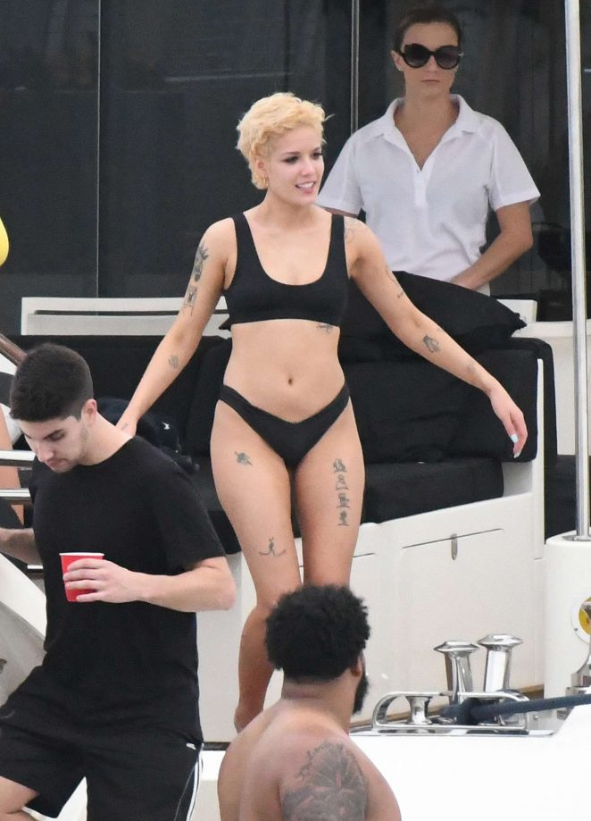 Halsey in Black Bikini on a yacht in Miami