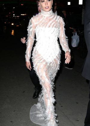 Halsey in Long White Dress out in New York City