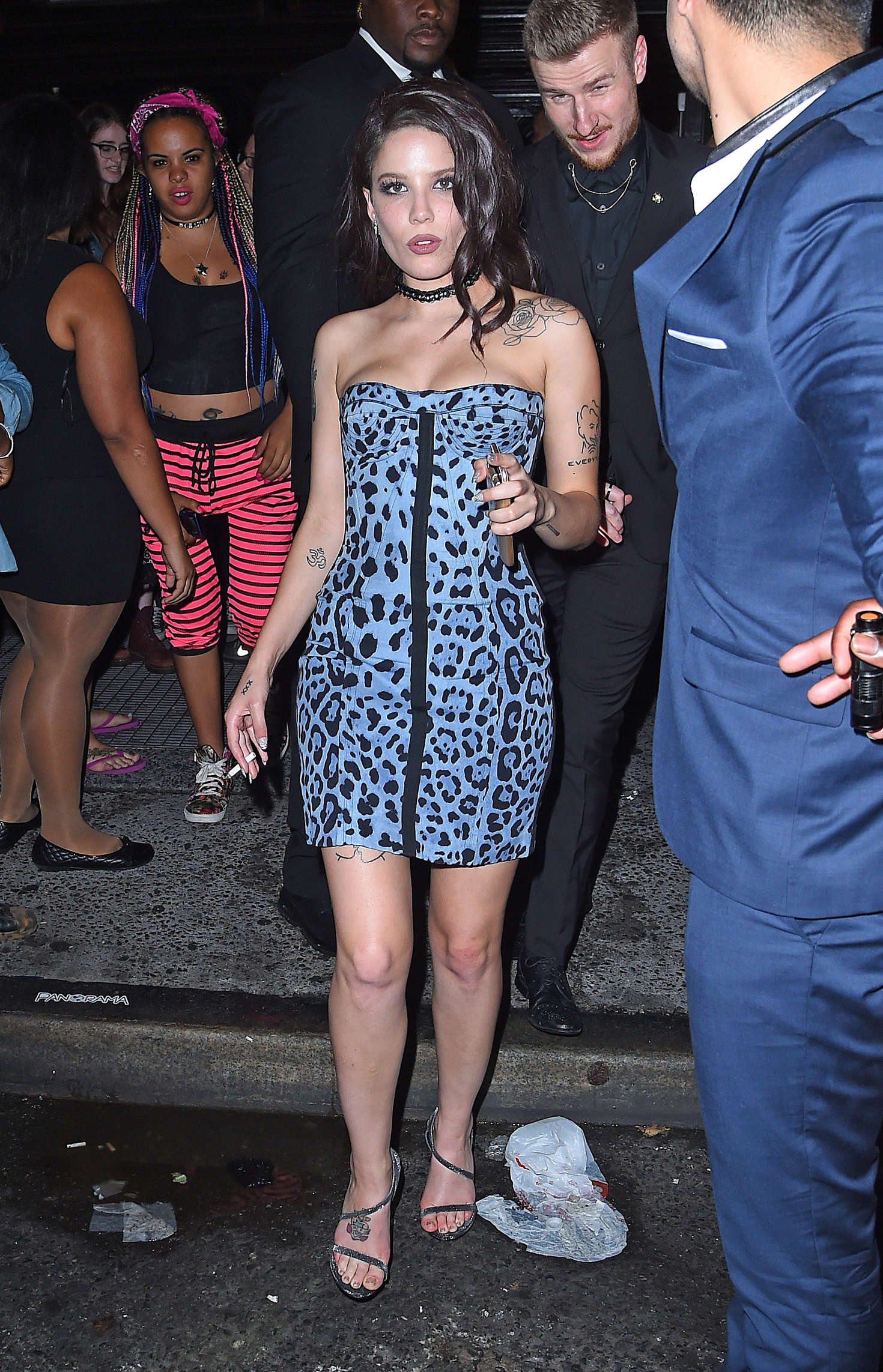 Halsey in Mini Dress at Up and Down Club in NYC
