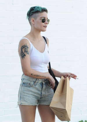 Halsey in Jeans Shorts Out in LA