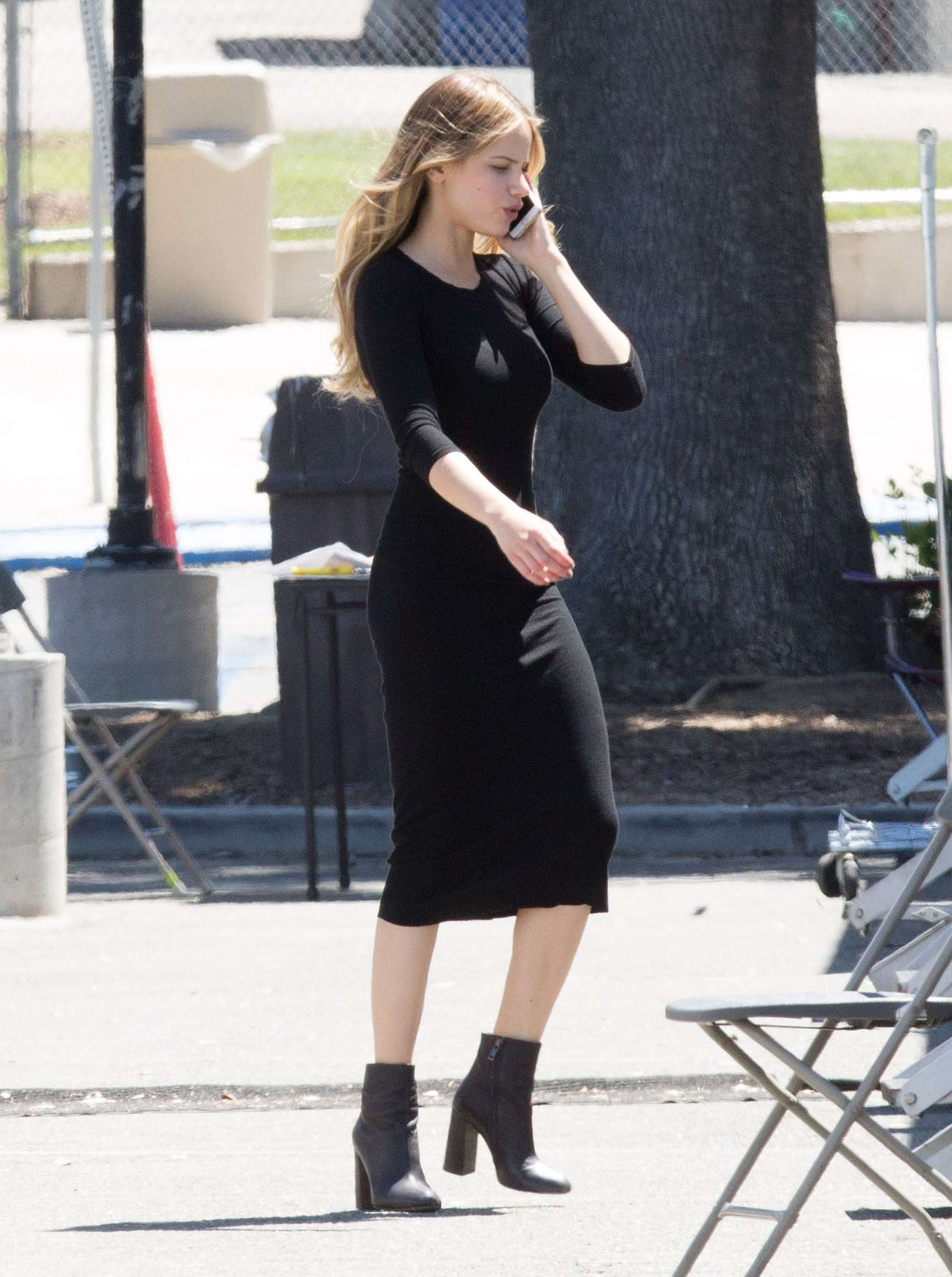 Halston Sage In Jeans Filming You Get Me 02 Gotceleb