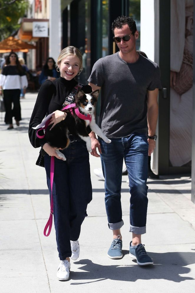 Halston Sage - Leaves Nate and Al's in Beverly Hills