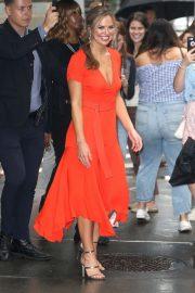 Hannah Brown in Plunging Orange Dress - Leaves Build Series in NY