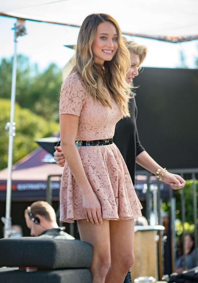 Hannah Davis in Mini Dress on Extra set in LA