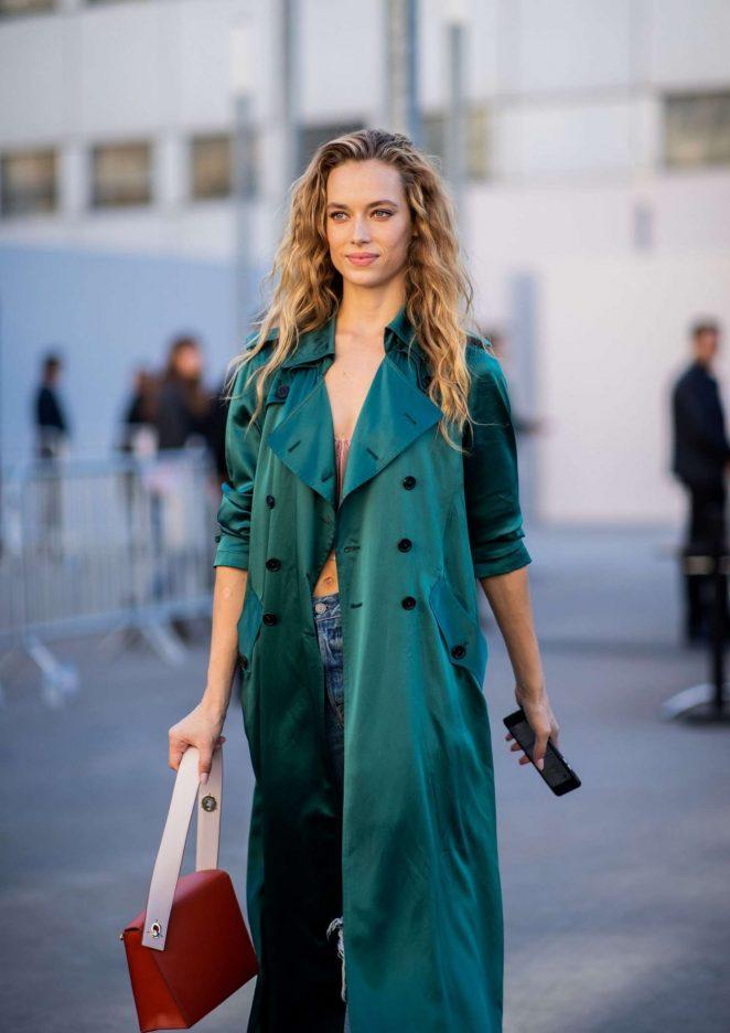 Hannah Ferguson – Leaving Chloe Fashion Show in Paris