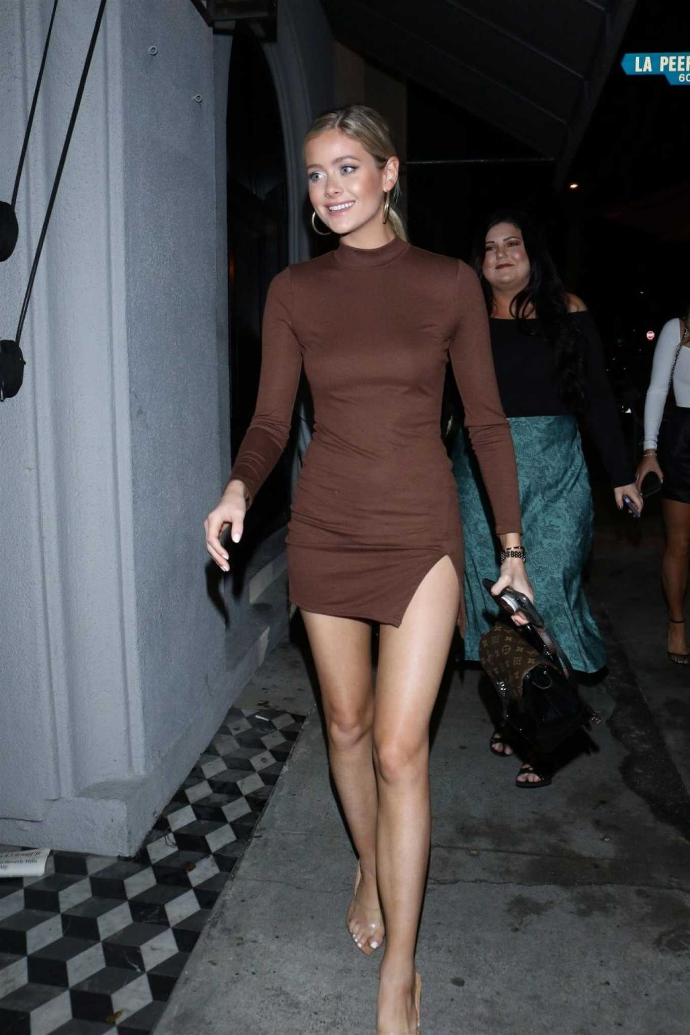 Hannah Godwin in Mini Dress - Outside Craig's Restaurant in West Hollywood