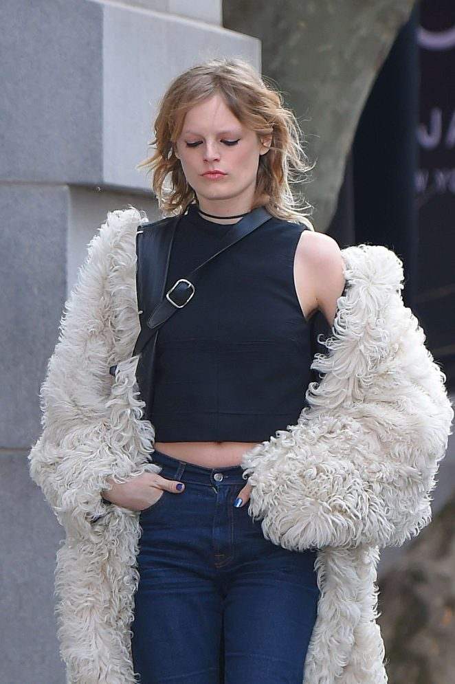 Hanne Gaby Odiele in Fur Coat out in Manhattan