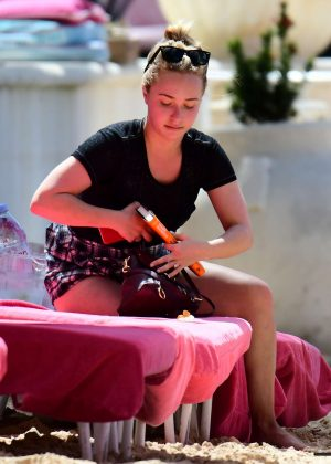 Hayden Panettiere at the beach in Barbados