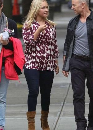 Hayden Panettiere in Jeans Filming 'Custody' in NY